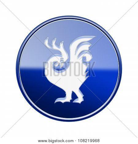Cock Zodiac Icon Blue, Isolated On White Background.