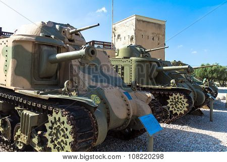 American Medium Tanks On Display From The Left M3 Grant, M3 Lee And M3A1 Stuart . Latrun, Israel