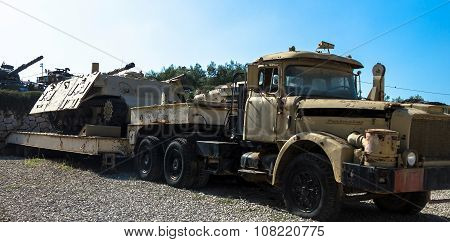 Truck And Trailer Contractor With Sherman Hull  -monster--live Target. Latrun, Israel