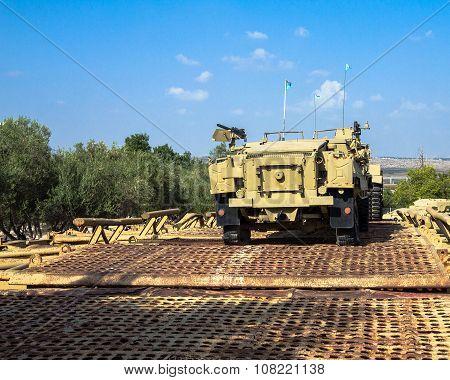 M3 Half-track Carrier On Pontoon Bridge. Latrun, Israel