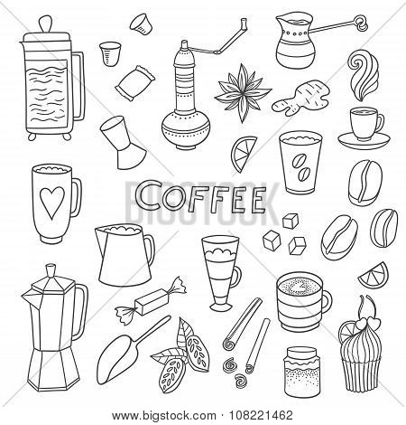 Coffee hand-drawn elements
