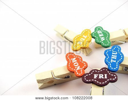 Paper Clips, Handmade Wood, Design For Business Day, Isolated On White Background