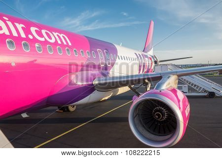 Sofia , Bulgaria - April 15, 2015: Airplane Is Near The Terminal Gate Ready For Takeoff. Crew Is Pre