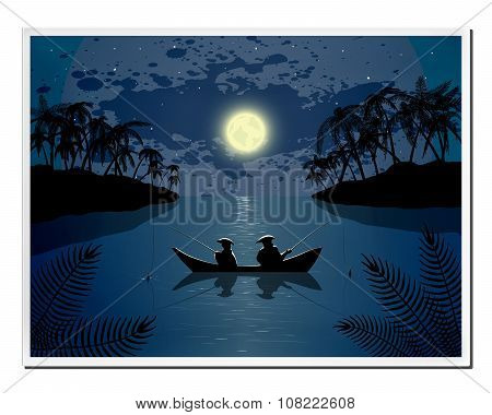 Picture With Fishing In Nature - Ocean Or Sea Landscape And Night Moon In Vector