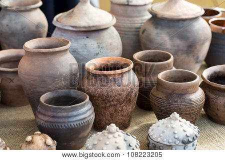 KRAKOW POLAND - APR 7 2015: handmade ceramic pottery in a roadside market