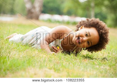 African Girl Is Laying Down