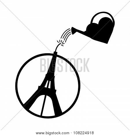 Illustration Vector Of Eiffel Tower With Heart Shape Watering Can , Peace Symbol Icon, Peac