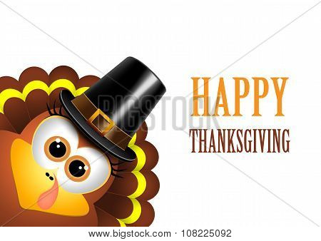 Card for Thanksgiving Day. Turkey in a pilgrim hat.