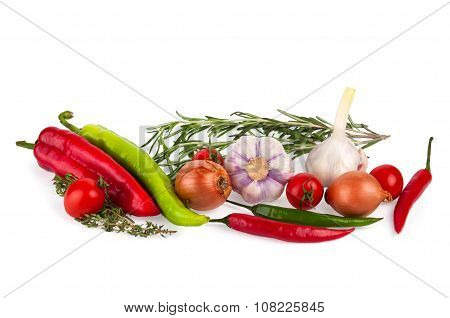 Fresh vegetables isolated on a white background