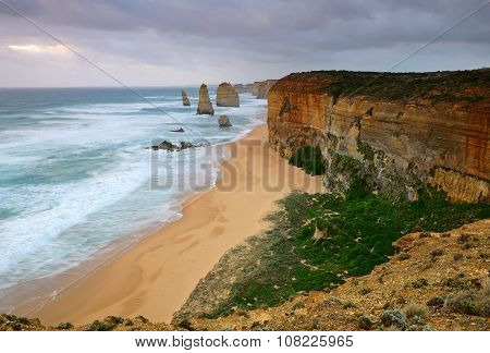 Twelve Apostles With Cloudy Sky