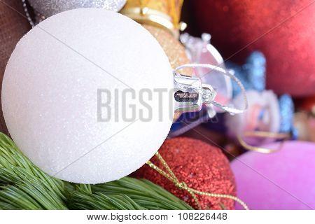 Closeup Of Beautiful Christmas Baubles, Decorated Christmas Tree, Holiday Background, Green Tree Eve