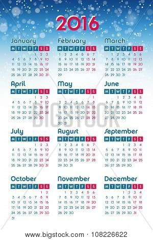 Calendar for 2016 on winter background, week starts Monday, vector