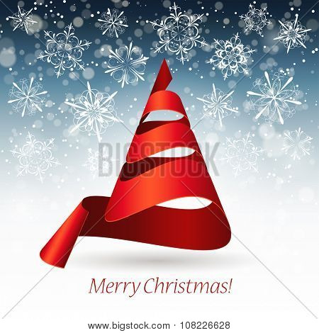 Merry Christmas design with christmas tree made of red ribbon, vector illustration
