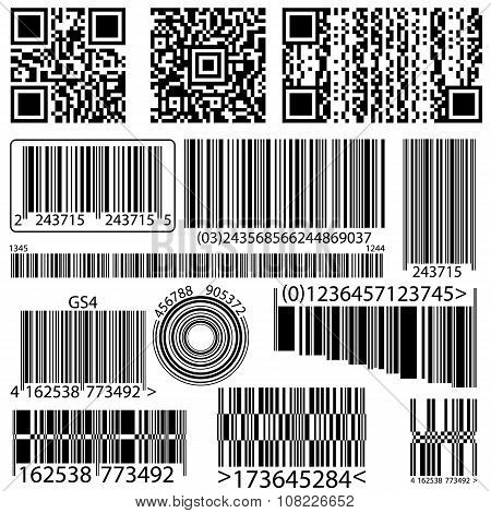 Collection Of Barcode And Qr Code
