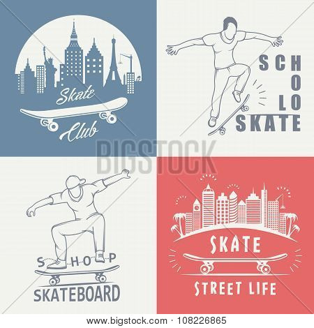 Set Vector Retro Skateboarding Logo And Badge