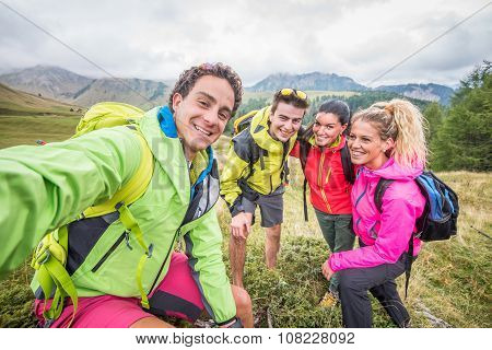 Hikers taking selfie
