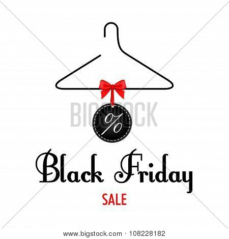 Vector illustration. Black Friday sales. Black clothes rack with