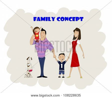 Happy Family Of Four And Dog