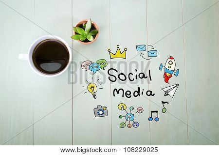 Social Media Concept With A Cup Of Coffee