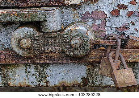 Lock on the door of an old farmhouse