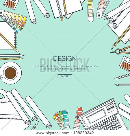Vector illustration, lined. Flat background. Web design , drawing, painting. Project planning. Palet