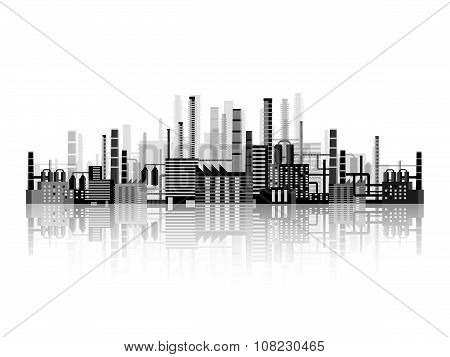 Vector illustration. Industry. Power plant. Factory. Industrial silhouettes. Engineering, constructi