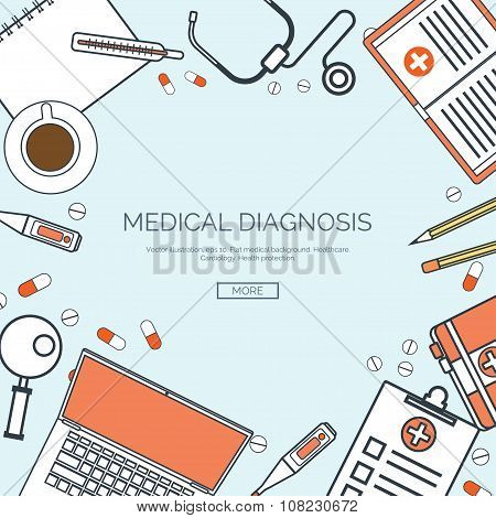Vector illustration, lined. Flat medical background. First aid ,diagnostic. Medical research ,therap