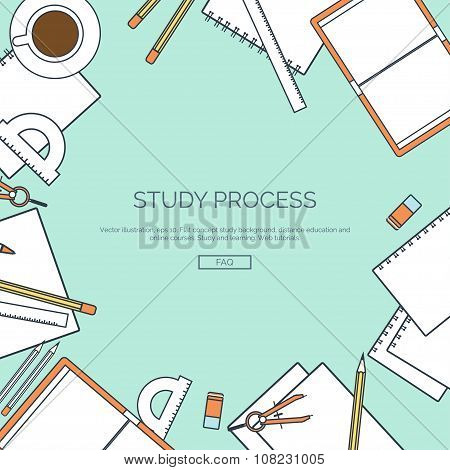 Vector illustration, lined. Flat backgrounds set. Distance education, learning. Online courses, web