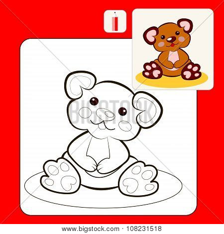 Coloring Book or Page Cartoon Illustration of funny plush bear toy