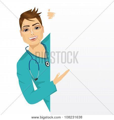 nurse with a blank presentation board