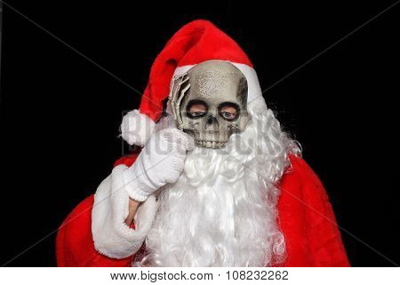 Creepy image of Santa Claus with a Skeleton Mask. Scary Santa Claus. Santa Claus Halloween Mask. Santa Skull. Santa Skeleton. Spooky Santa. Spooky Santa Claus.
