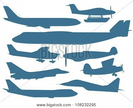 Civil aviation travel passenger air plane vector silhouette. Civil commercial airplane flying vector illustration.Travel plane blue icons isolated white background.Cargo transportation airplane