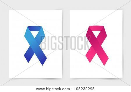 Stop cancer ribbon medical logo icon concept. Cancer ribbon, breast cancer awareness symbol, isolated on background. Cancer ribbon logo people cancer and cancer icon symbol. Medical clinics concept