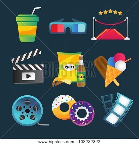 Movie vector icons set. Movie icons isolated, movie food and drinks. Clapboard, tickets film, cakes and drinks vector icons. Ice cream, glasses, chips, beer. Cinema movie icons, cinema vector 3d