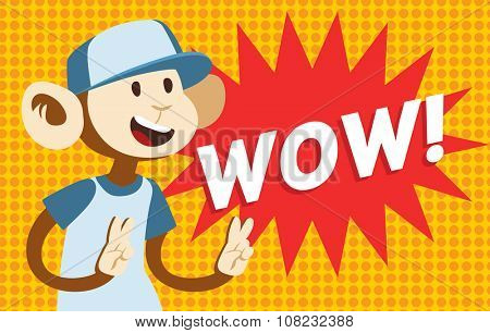 Wow text monkey classic pop art design vector illustration. Wow text isolated on modern colorful background. Retro WOW text and happy monkey. Bubble with WOW text and monkey. WOW vector illustration