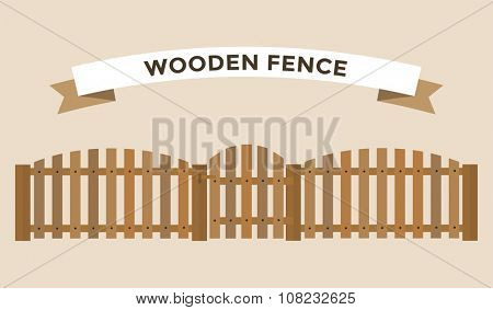 Wooden fence isolated on background. Garden fences vector illustration. Fences railing vector isolated. Wooden fence, long fence, vector fence. Wooden fence silhouette construction isolated
