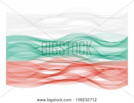 Wave line flag of Bulgaria