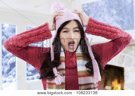Mad Girl In Winter Wear At Home