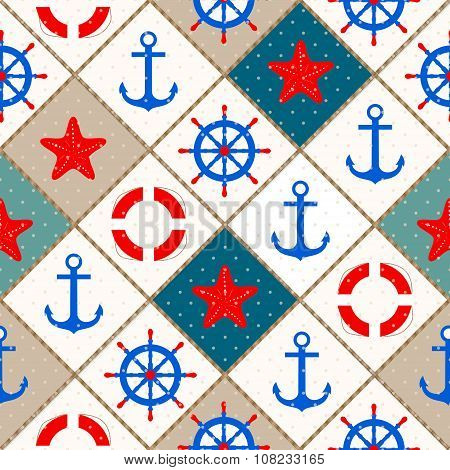 Seamless Nautical Pattern With Sea Theme Elements Background
