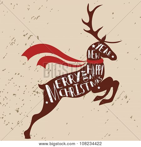 Typographic Christmas Greeting Card With Reindeer.
