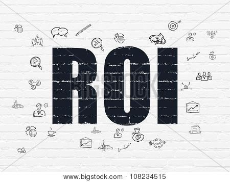 Finance concept: ROI on wall background