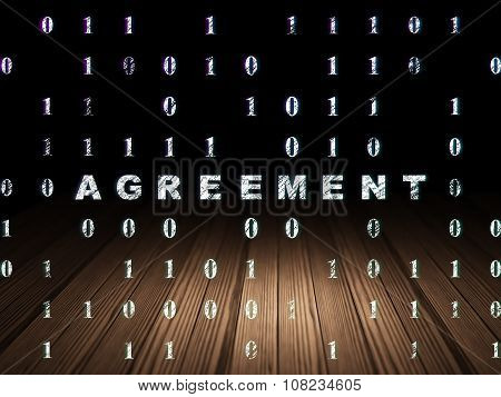 Business concept: Agreement in grunge dark room