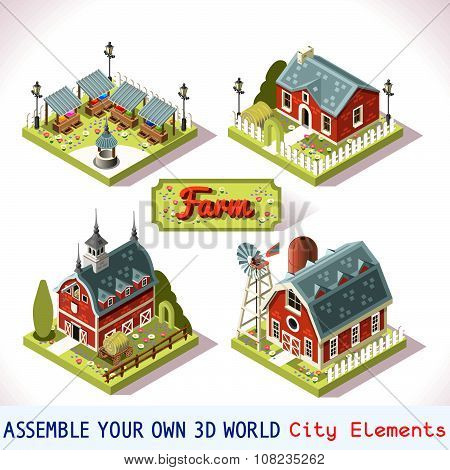 Farm Tiles 03 Set Isometric
