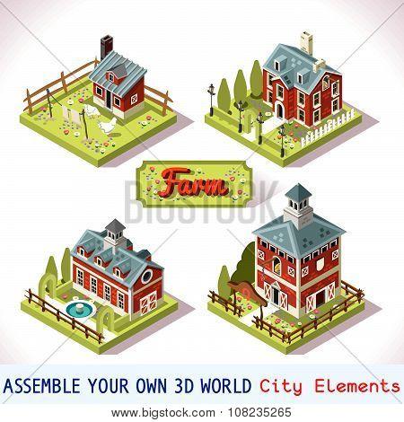 Farm Tiles 02 Set Isometric