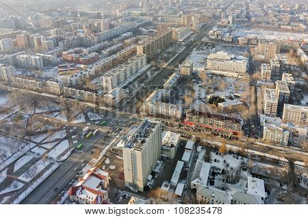 Aerial view on central residential district.Tyumen