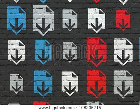 Web design concept: Download icons on wall background