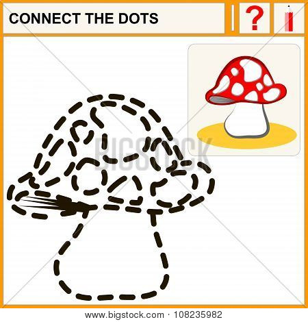 Connect the dots preschool exercise task for kids mushroom