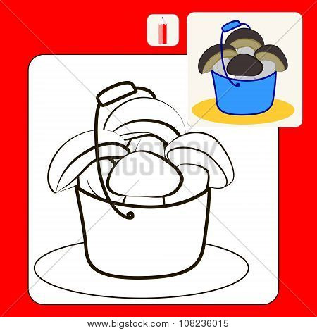 Coloring Book or Page Cartoon Illustration of ceps in blue bucket