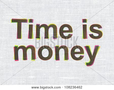 Timeline concept: Time is Money on fabric texture background