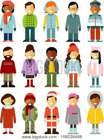 People winter characters stand set in flat style isolated on white background